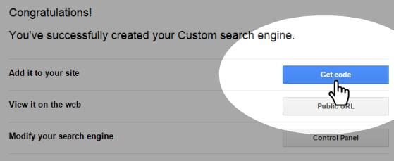 Google Custom Search - Get code