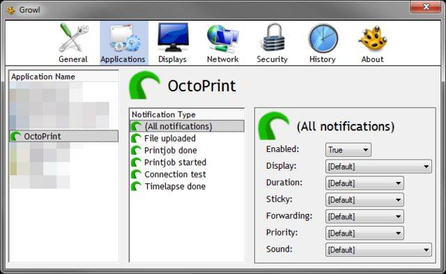 Growl Plugin: Example of granular notification configuration in Growl for Windows