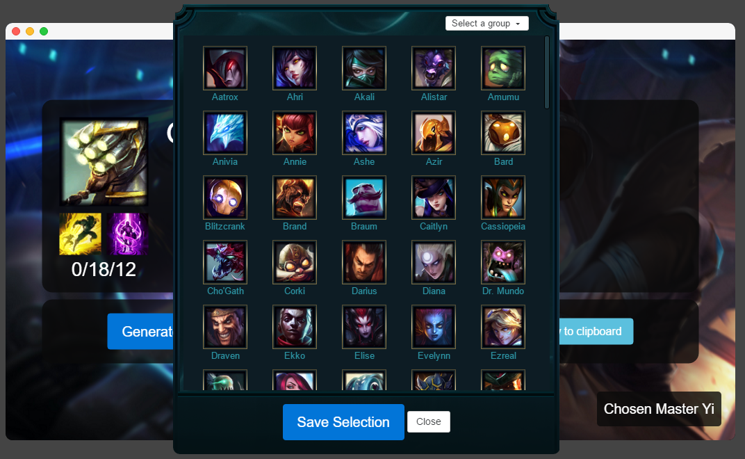 App and champ select screen
