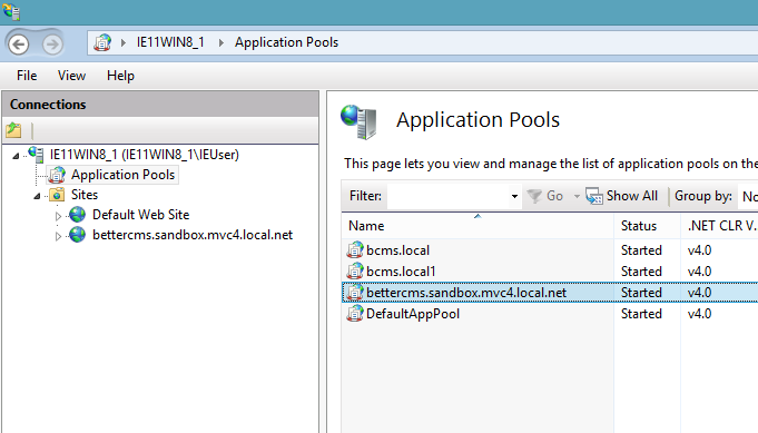 IIS: application pool