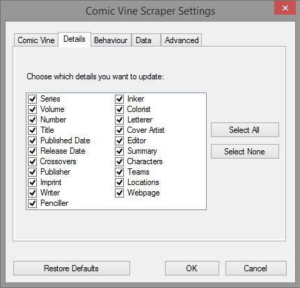 The 'Details' panel of the settings dialog.