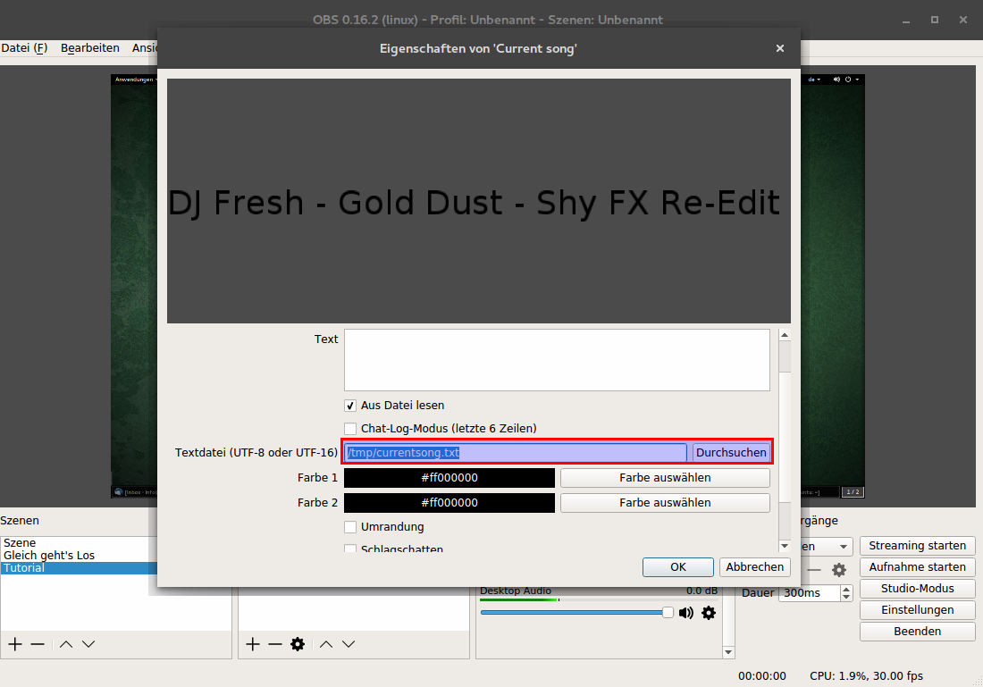 How to show what song is playing on obs