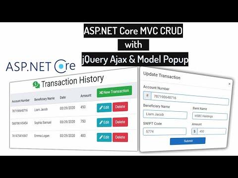 Video Tutorial for jQuery Ajax CRUD with ASP.NET Core MVC