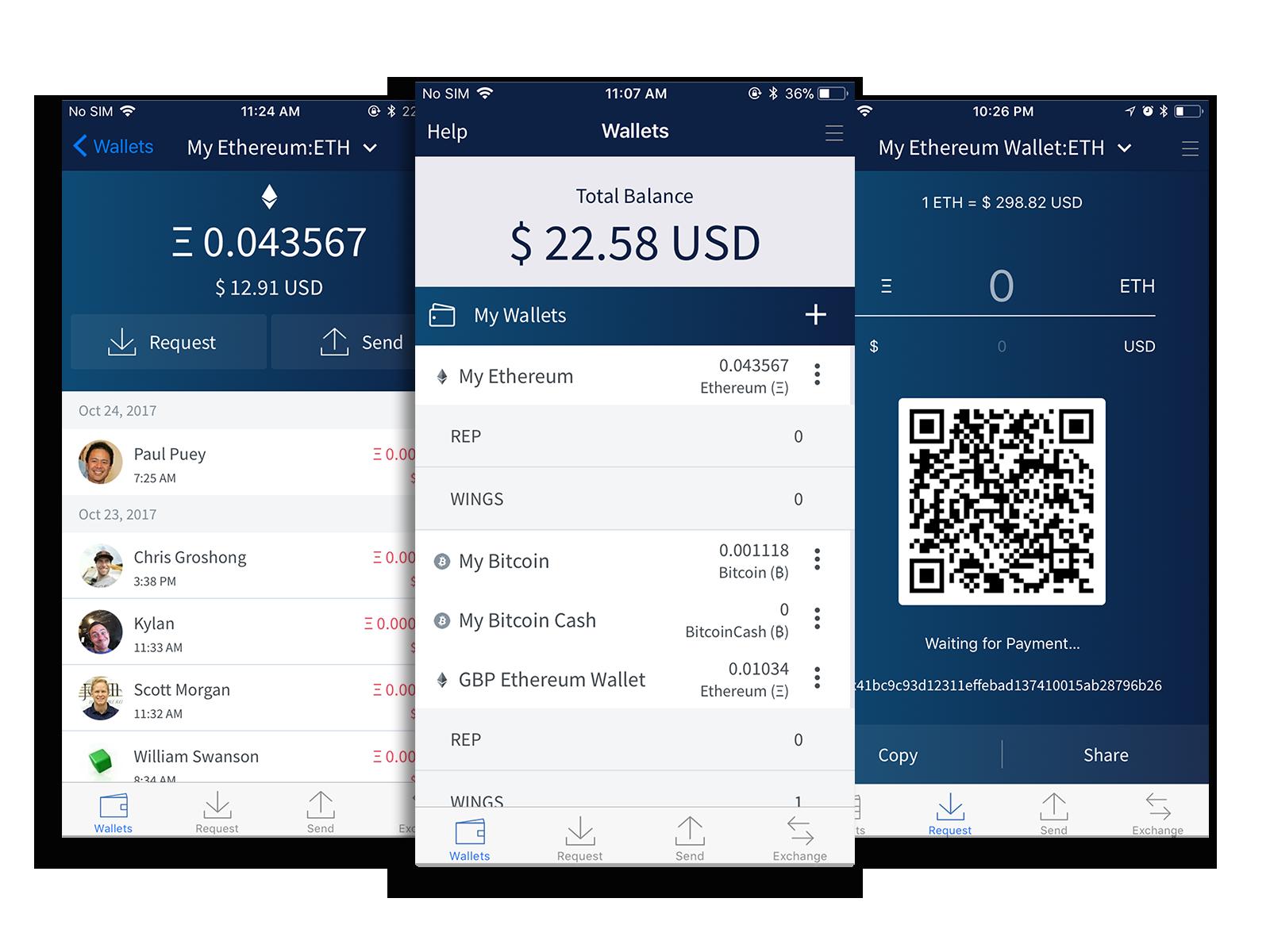 Edge Wallet Screenshots