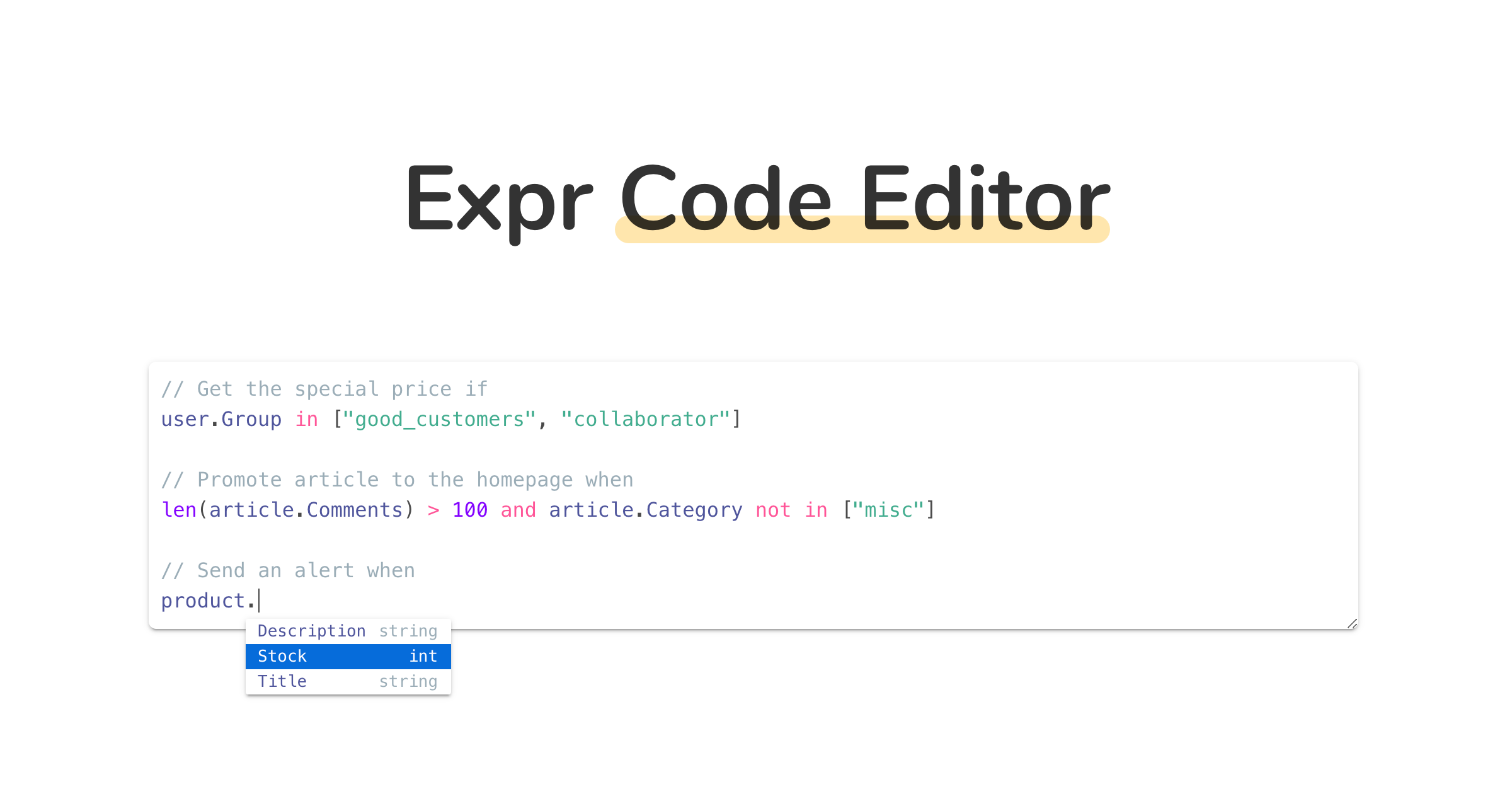 Expr Code Editor