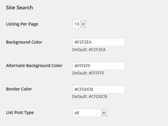 Global Site Search Settings