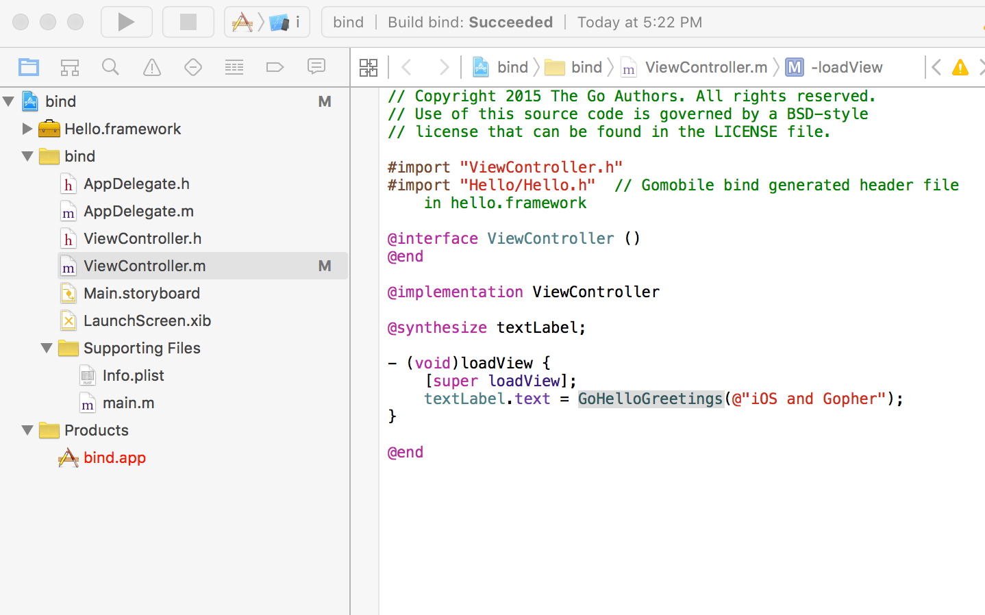 Xcode project layout with Hello.framework