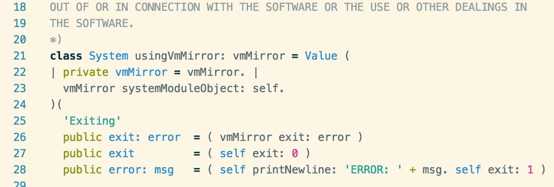 Screenshot of SOMns syntax highlighting