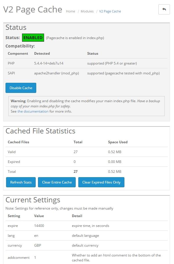 V2Pagecache Admin Panel Screenshot