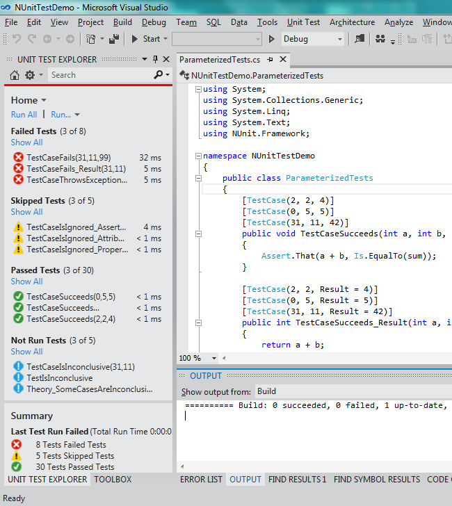 NUnit Test Adapter for Visual Studio 2012 and 2013 · nunit