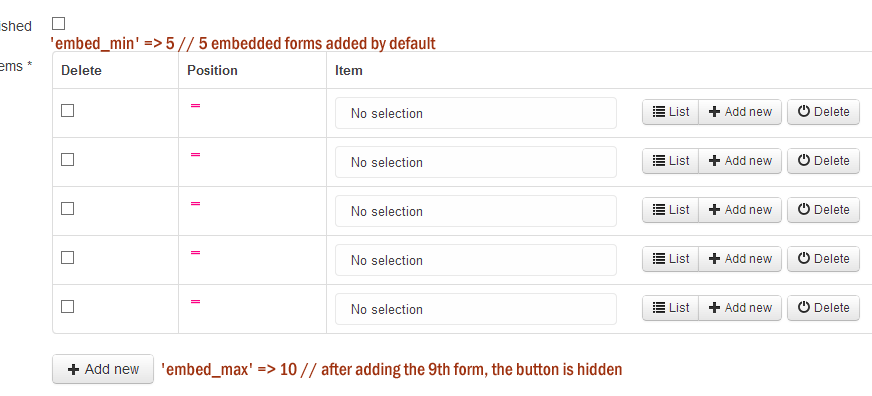 feature request embed form min max for sonata type collection
