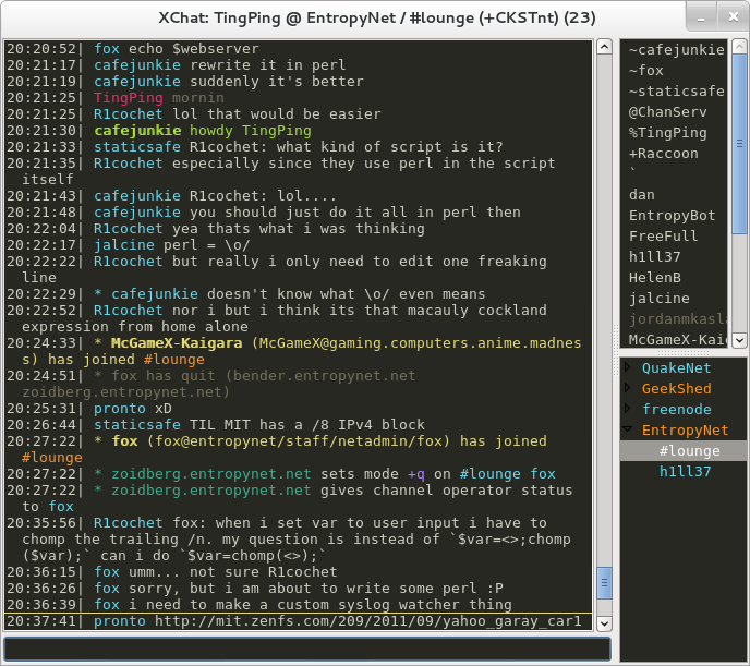 XChat Monokai Theme Example Screenshot