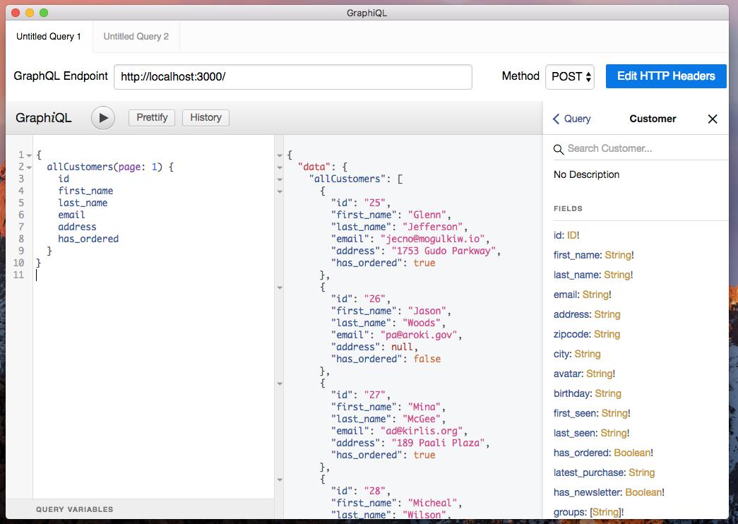 GraphiQL client using json-graphql-server