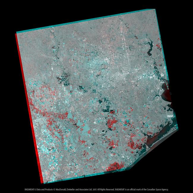 The flooded areas of Houston following Hurricane Harvey, as shown by RADARSAT-2