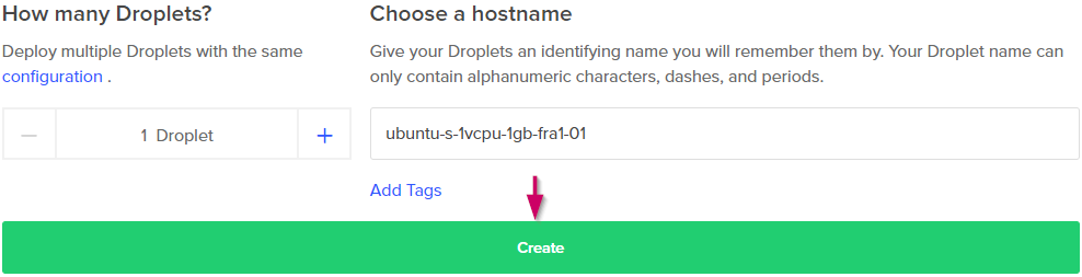 Create Droplet!