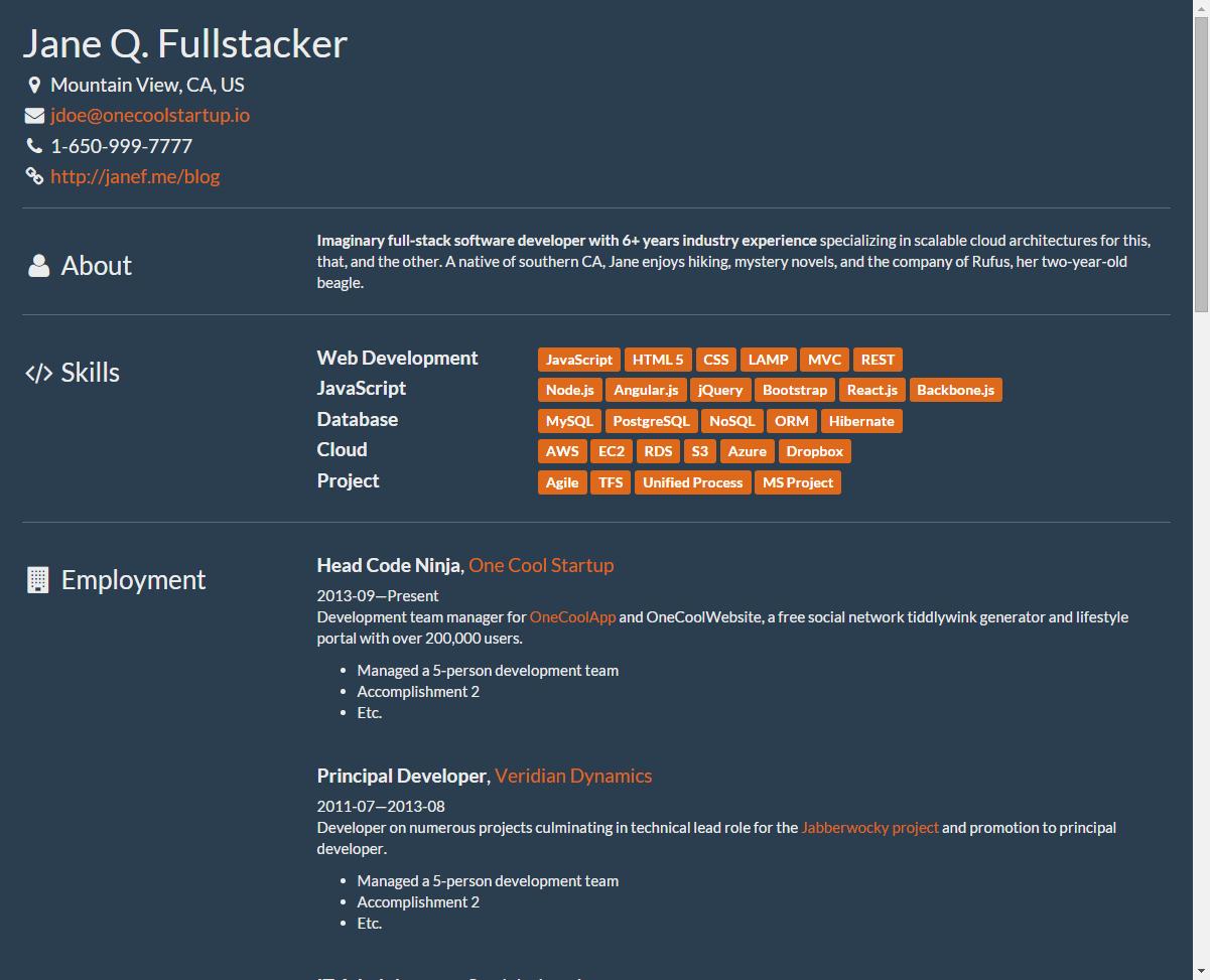 github aruberto fresh theme bootstrap responsive resume theme