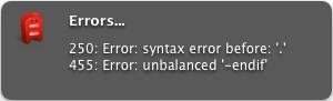 Compilation errors image.