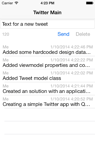 Twitter example on iPhone