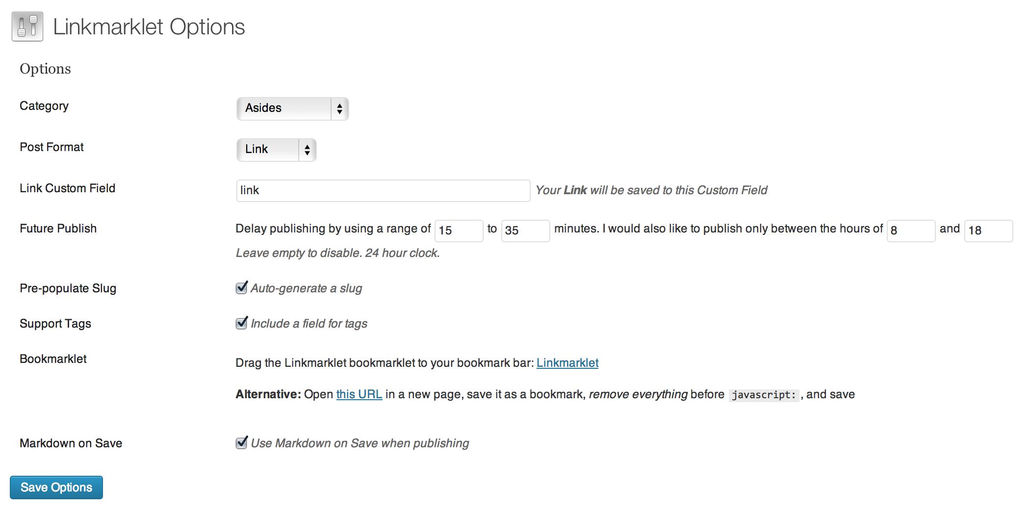 Linkmarklet Settings