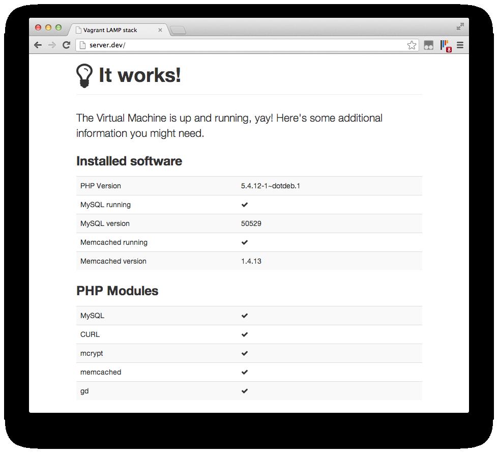 Screenshot of up-and-running server