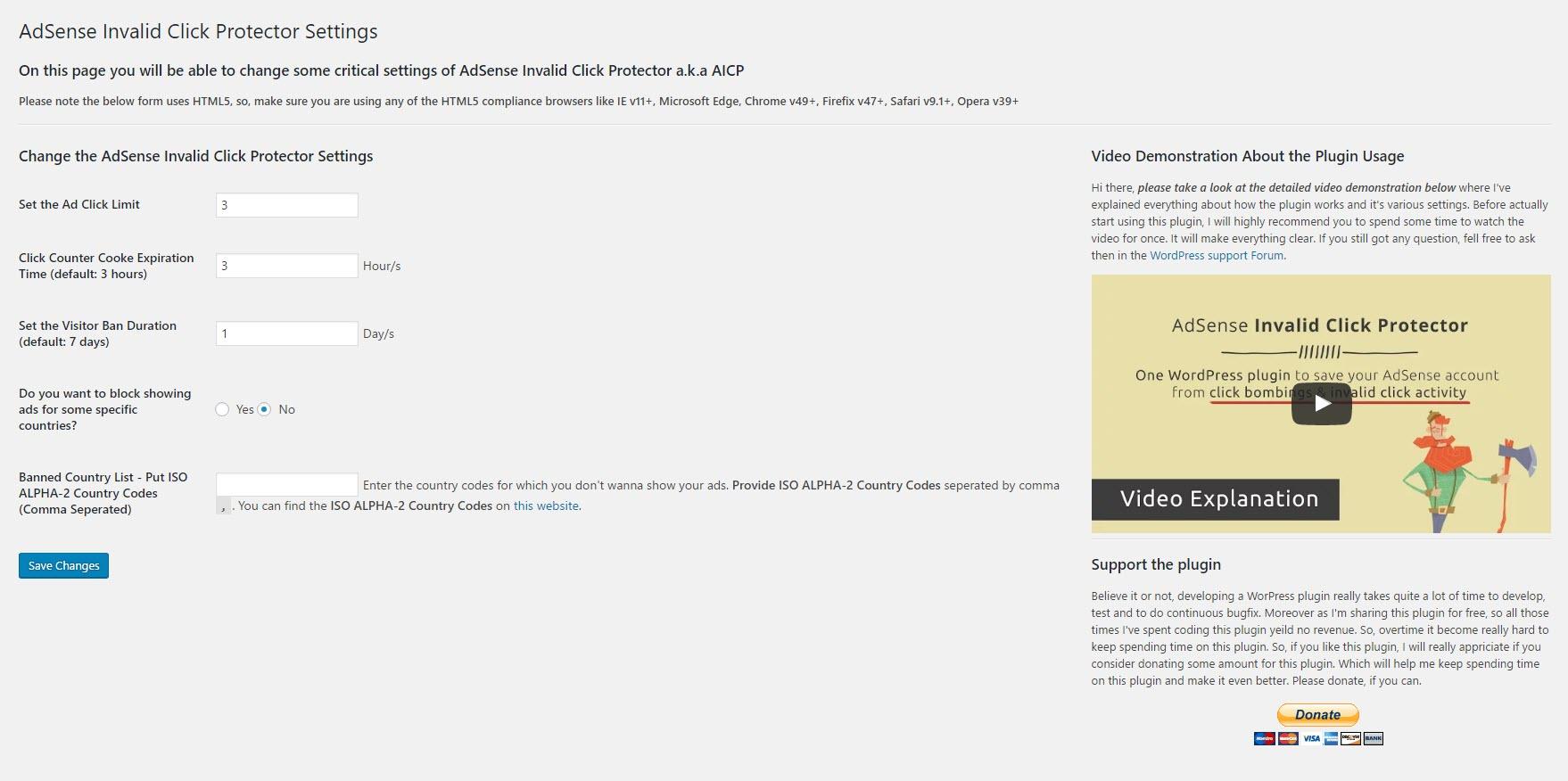 AICP - General Settings Page Screenshot