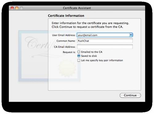 Generating a certificate sign request with Keychain Access