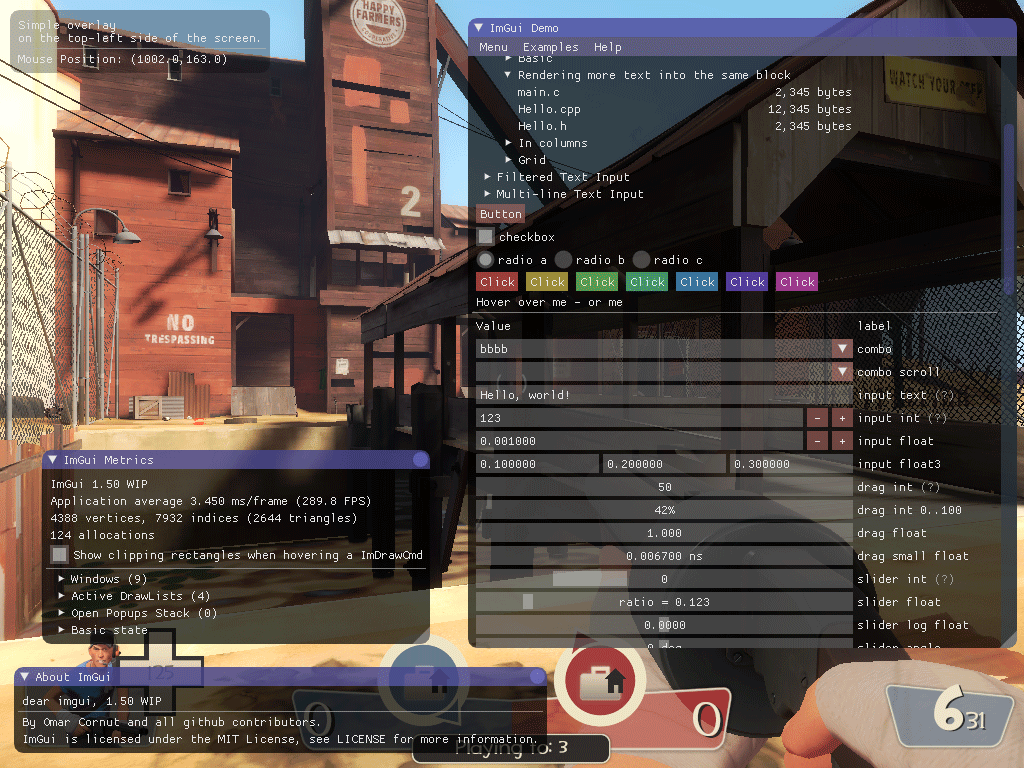 imgui demo in Team Fortress 2 on Linux