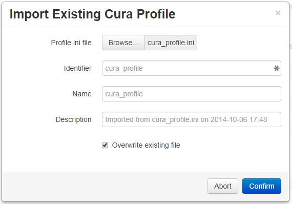 Importing an existing Cura profile