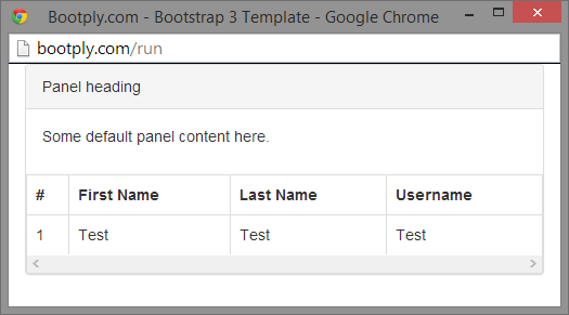 Responsive tables with table bordered inside a panel have for Bootstrap table class
