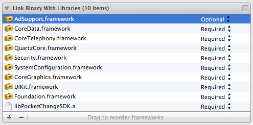 Link Phase after adding all required frameworks and libraries