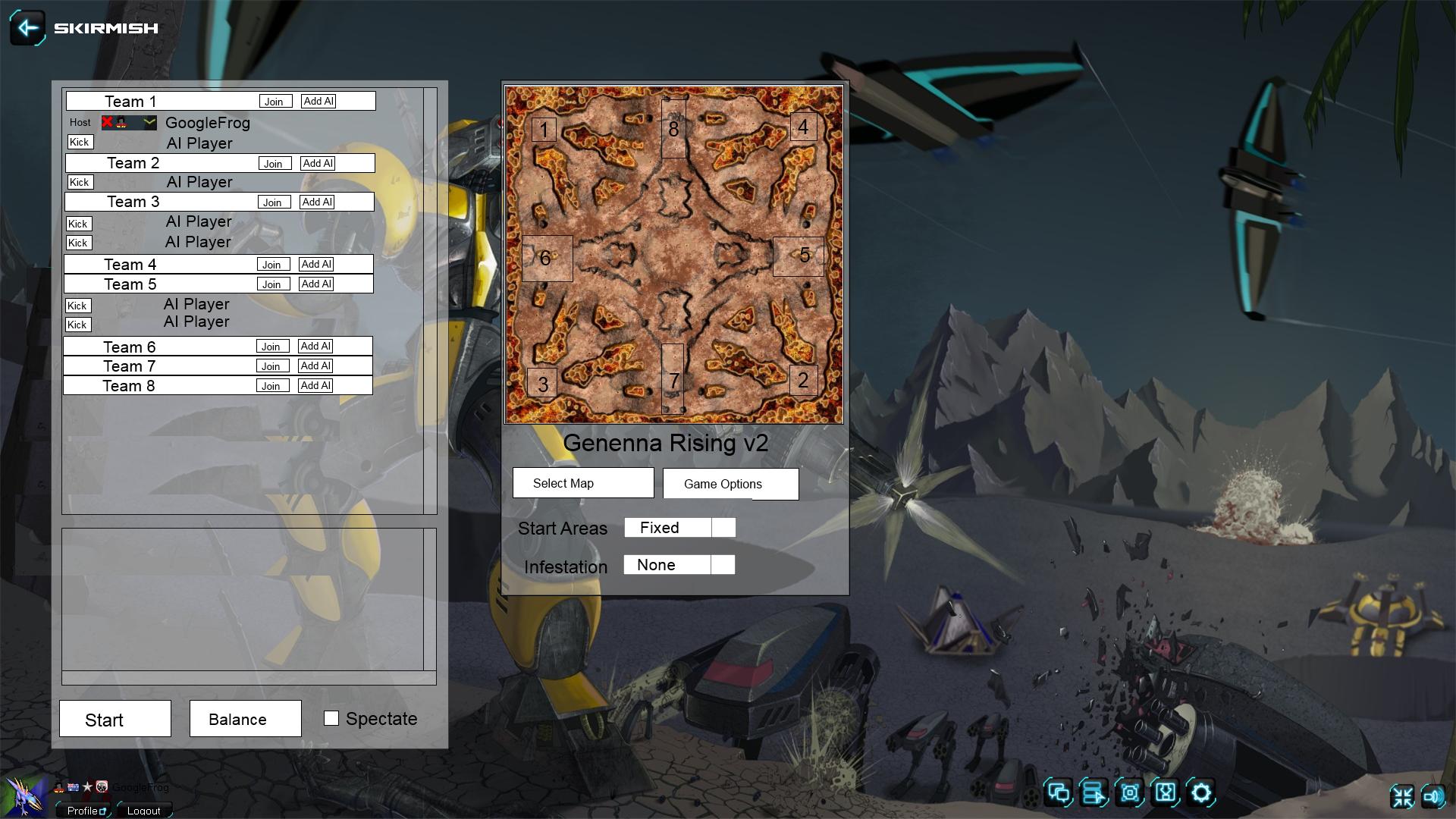 Skirmish and Custom Battle screens · ZeroK-RTS/Zero-K