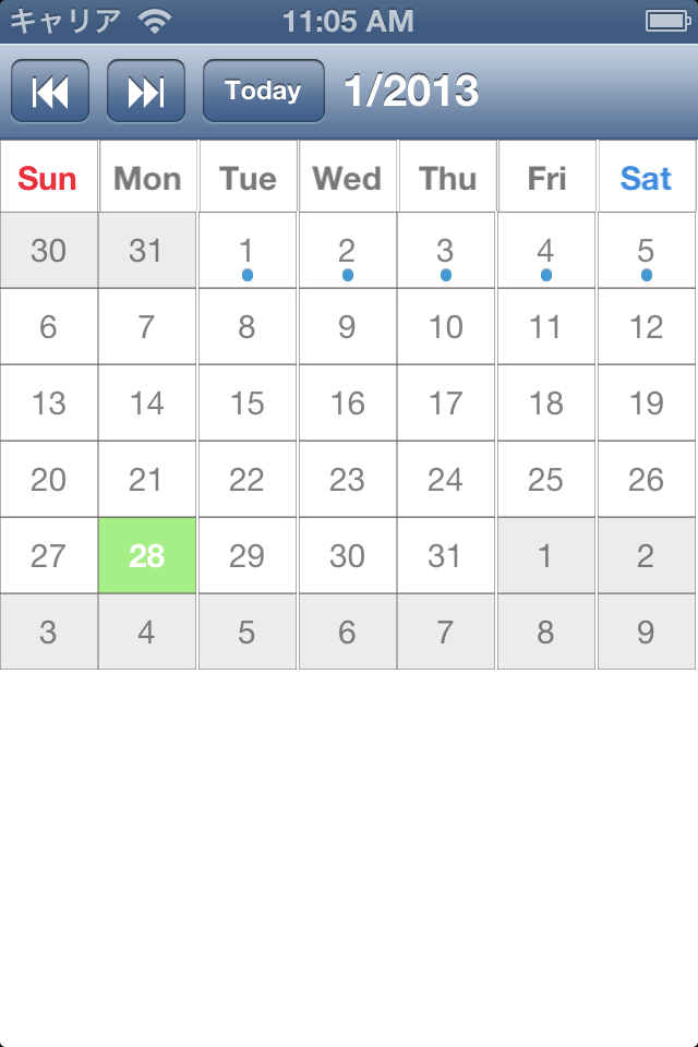 iPhone Calendar no header
