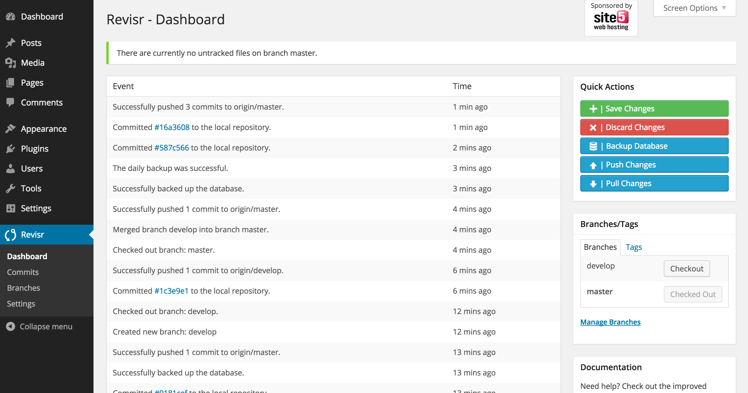 1. The main dashboard of Revisr.