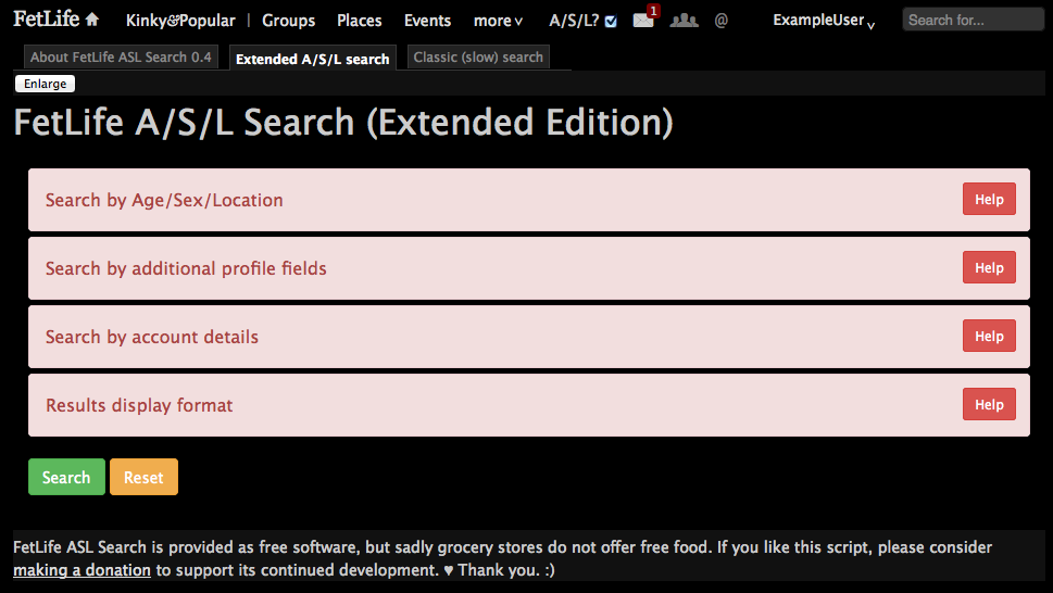 "Screenshot of the ""Extended A/S/L search"" tab with all its panels closed."