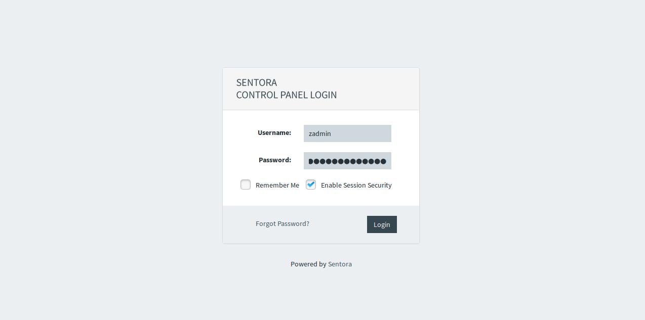 Grue for Sentora login screen screenshot