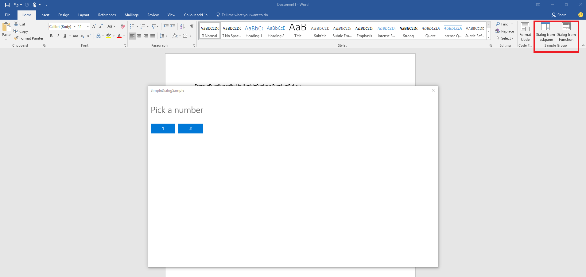 Office Add-in Dialog API Sample