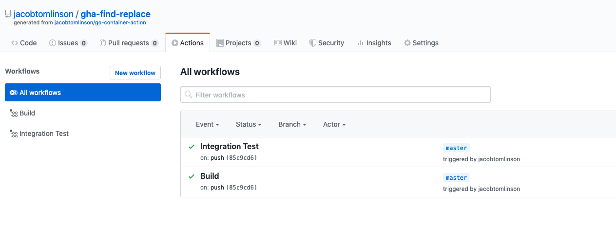 GitHub Actions running on our Action