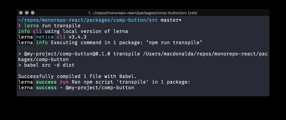 Screenshot of babel transpiling button component