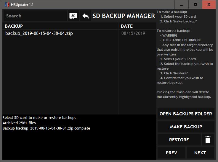 SD backup tool
