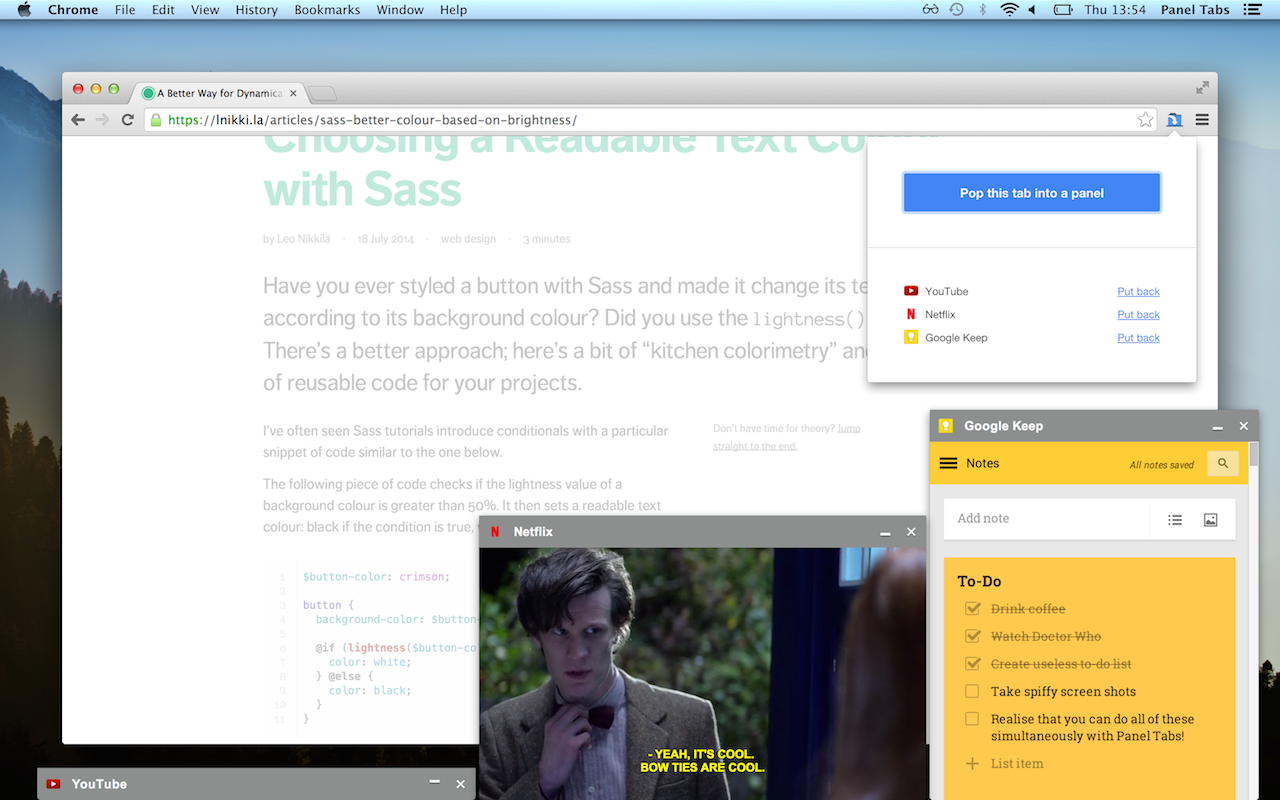 A screen shot of the extension's popup, Netflix and Google Keep open in panels.