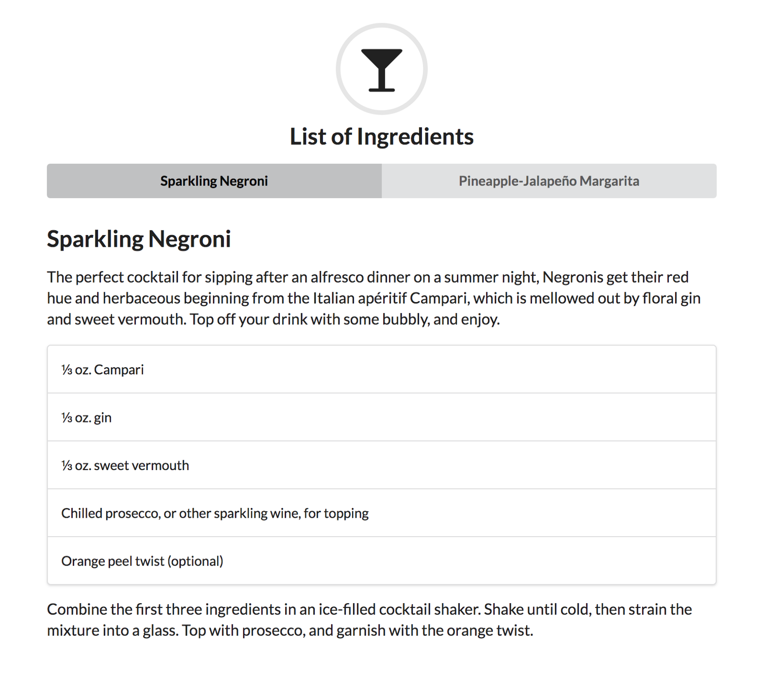 An example of the List of Ingredients app