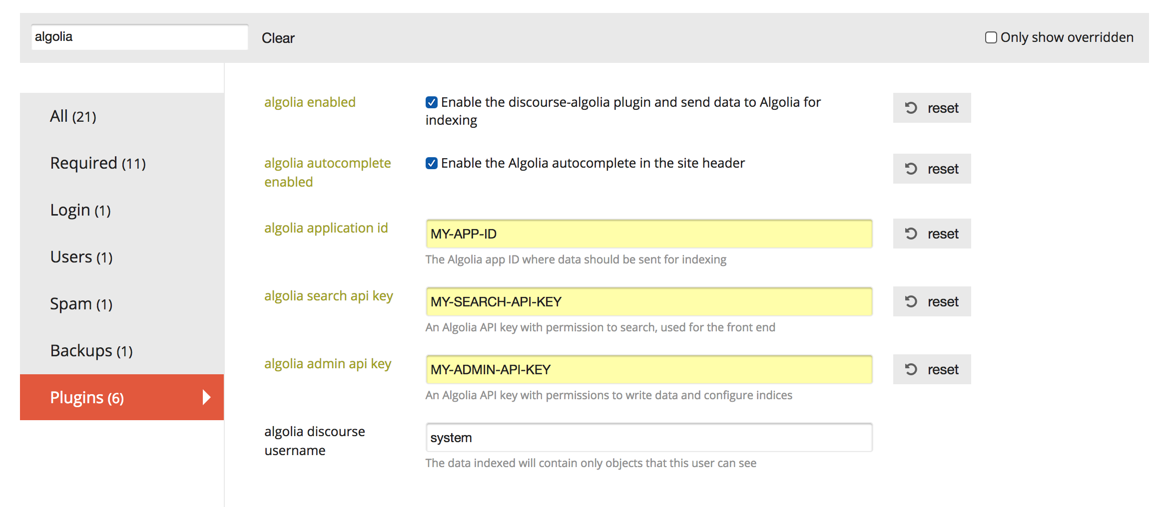 discourse-algolia populated configuration options