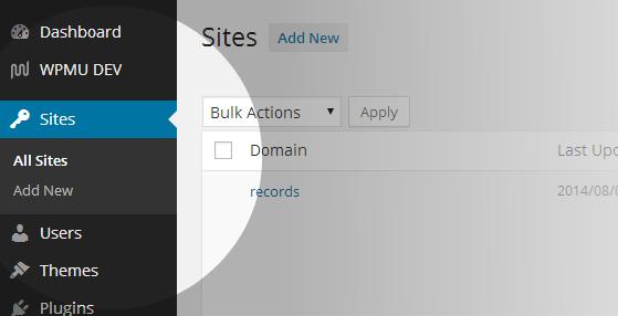 Network admin Sites list