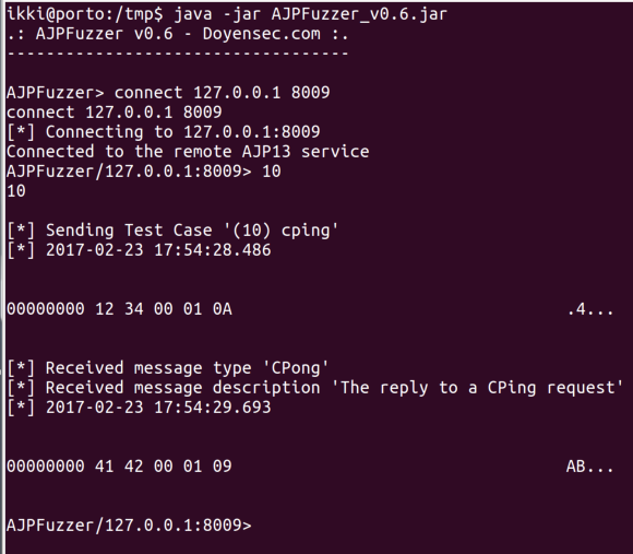 CPing message using AJPFuzzer