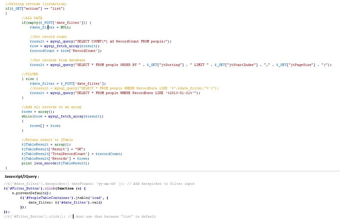 Filter in php · Issue #78 · volosoft/jtable · GitHub