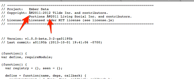 Copyright Symbol Garbled In Source Issue 1419 Emberjsdata Github