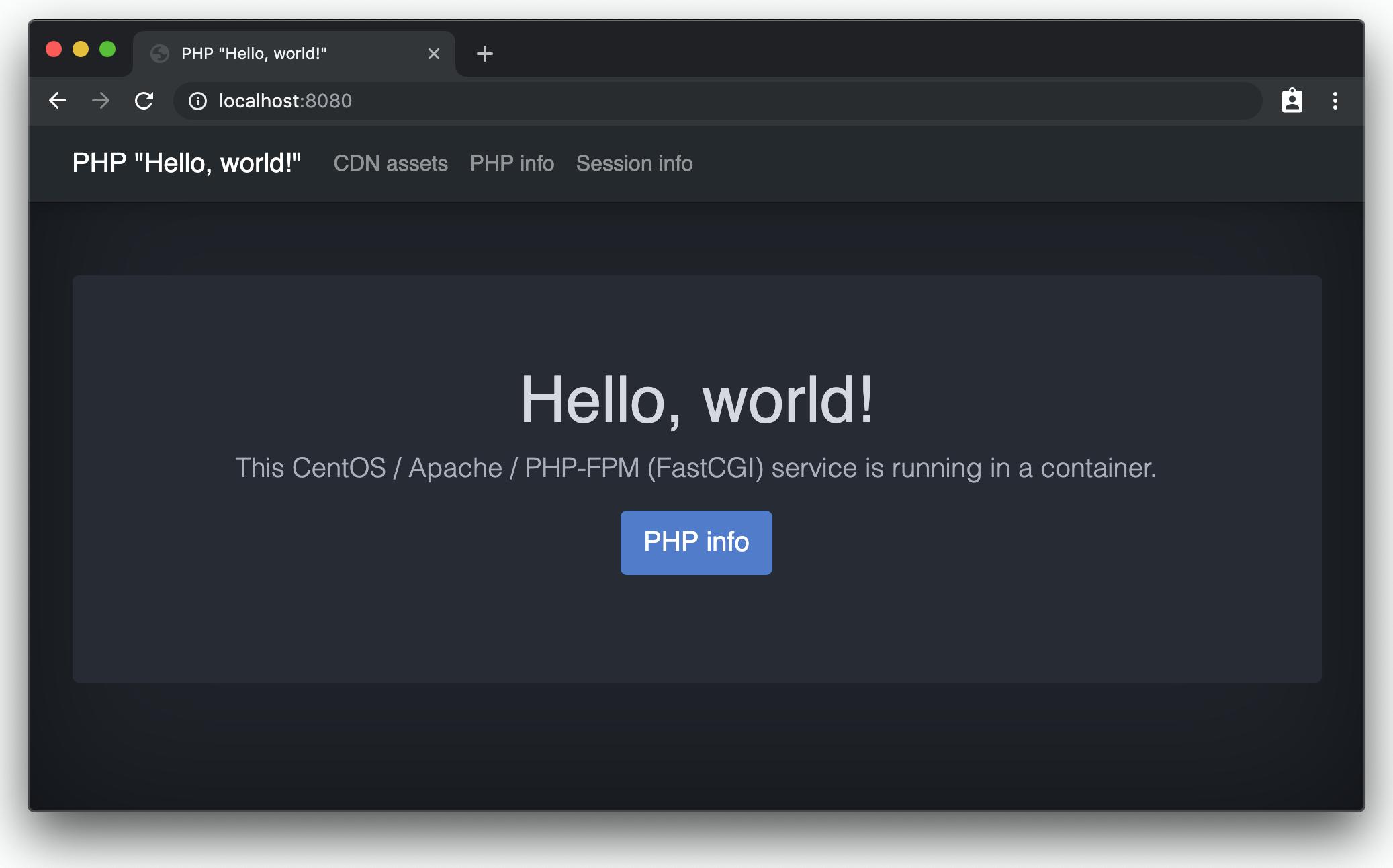 "PHP ""Hello, world!"" - Chrome screenshot"