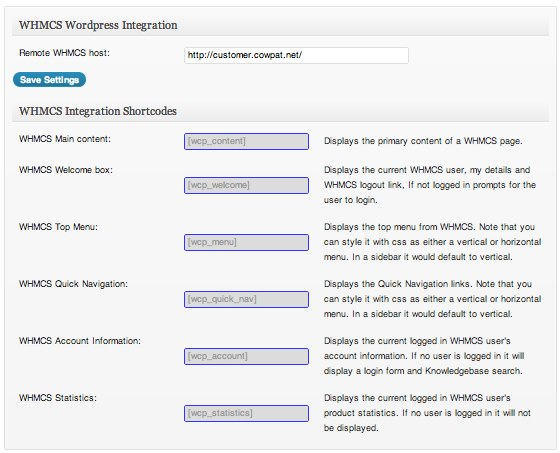 WHMCS Integration - Shortcodes