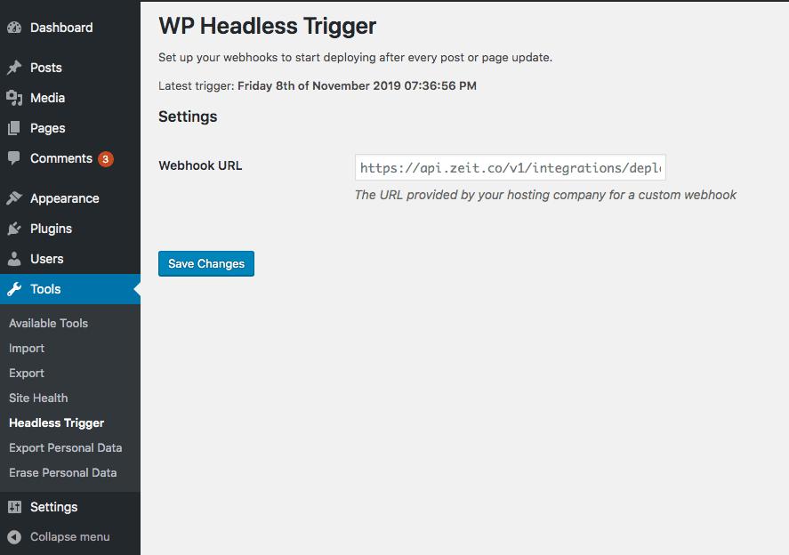 Settings page in WordPress admin