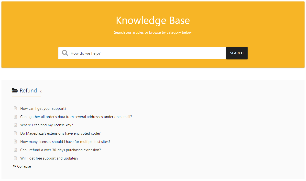 faqs category page